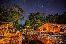 Hotel in the jungle at night