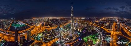 Panorama of Burj Khalifa at night. Dubai, UAE