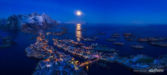 Panorama of night Lofotens