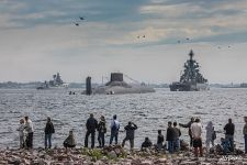 Rehearsal of the Russian Navy parade in Kronstadt