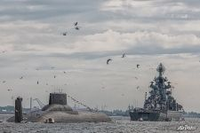 Dmitriy Donskoi submarine and Pyotr Velikiy battlecruiser