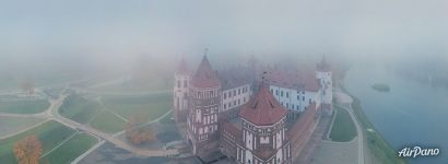 Mir Castle in the fog. Panorama
