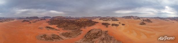 Bird's eye view of Wadi Rum Desert