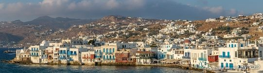 Houses of Mykonos at the shore of Aegean Sea