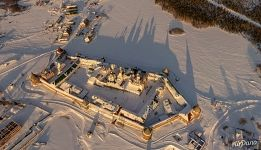 Solovetsky Monastery in winter from above