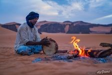 Campfire in the Sahara Desert