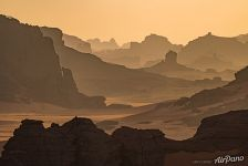 Silhouettes of rocks in the Sahara Desert