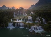 Detian Falls at sunset