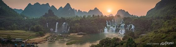 Detian Falls at sunset. Panorama