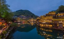 Fenghuang Town at night