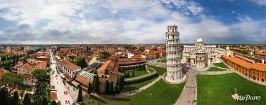 The Leaning Tower of Pisa and Duomo. Panorama