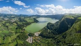 Crater lake Lagoa das Furnas from above