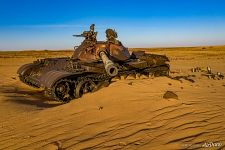 Soviet tanks in the sands of the Sahara