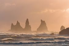 Seastacks Reynisdrangar rocks at sunset, South Iceland