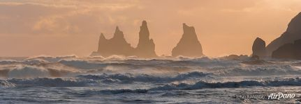 Panorama of Seastacks Reynisdrangar, South Iceland