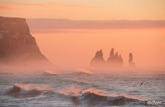 Reynisfjara beach, Seastacks Reynisdrangar in the misty morning