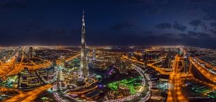 Burj Khalifa at night. Dubai, UAE