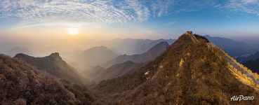 Sunset above the Great Wall of China