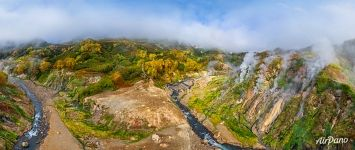Golden autumn in Valley of Geysers