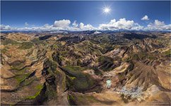 Iceland, Landmannalaugar from the height of 1000m