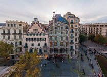 Barcelona, Spain. Battlo house by Antonio Gaudi architect