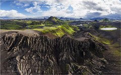 Iceland, lake Torfvatn and mount Storasula