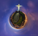 Christ the Redeemer Statue at night. Planet