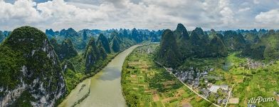 Above Li River. Between hills