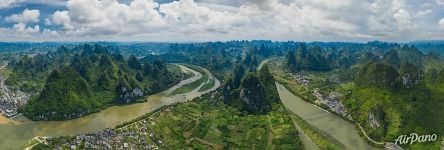 Panorama above Li River near Xingping Town