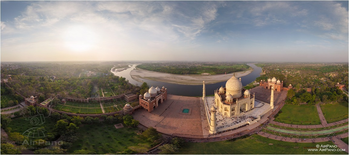 India, Taj Mahal from feight 200m • AirPano.com • Photo