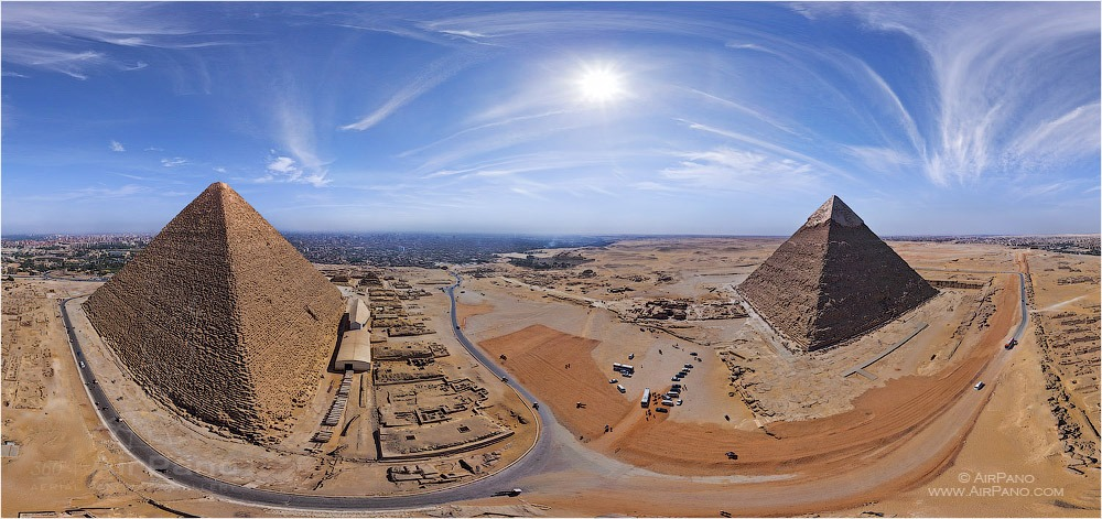 Egypt. Great Pyramids. Equidistant projection • AirPano.com • Photo