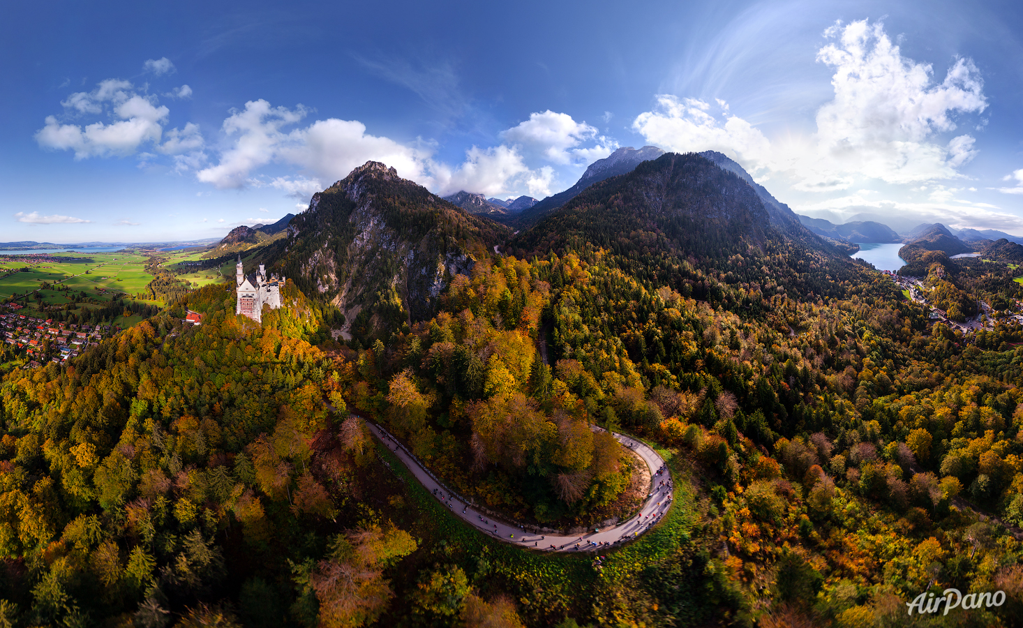 Germany, the road to the Neuschwanstein Castle • AirPano.com • Photo