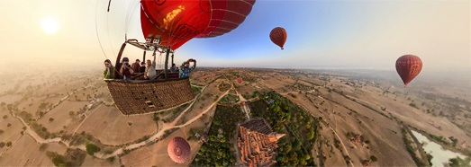 Balloon flight in Bagan, Myanmar - AirPano.com • 360 Degree Aerial Panorama • 3D Virtual Tours Around the World