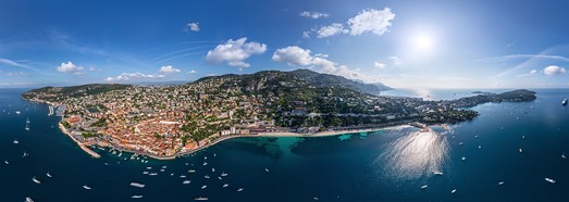 Cote d'Azur. Villefranche-sur-Mer,  Ile d'Or and Saint-Jean-Cap-Ferrat - AirPano.com • 360 Degree Aerial Panorama • 3D Virtual Tours Around the World