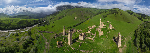 Old Watch Towers, Ingushetia, Russia - AirPano.com • 360 Degree Aerial Panorama • 3D Virtual Tours Around the World