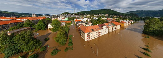 Flooding in Czech Republic, Usti nad Labem, 2013 - AirPano.com • 360 Degree Aerial Panorama • 3D Virtual Tours Around the World
