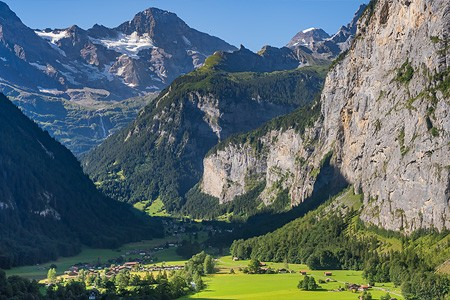 Lauterbrunnen. The valley of waterfalls and mountain peaks. Switzerland