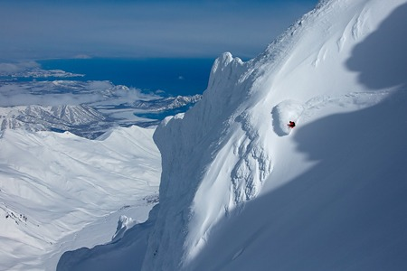 Freeride at Snow Valley mountain lodge. Kamchatka