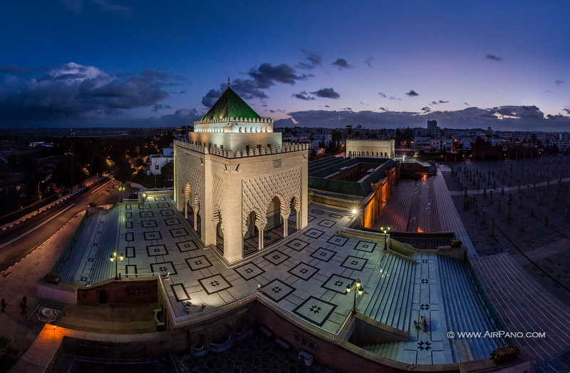 Mausoleum of Mohammed at night. Rabat, Morocco