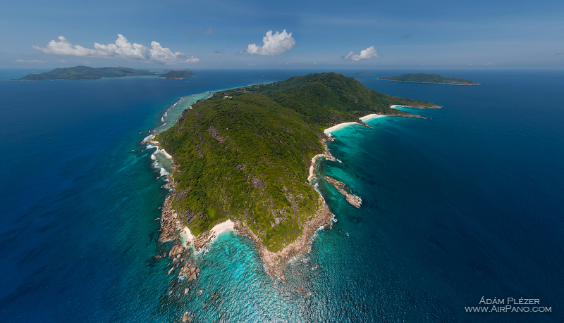 Pointe Camille, La Digue from an altitude of 410 meters. Seychelles