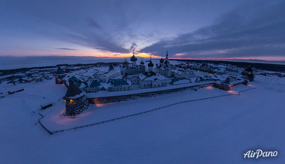 Solovetsky Monastery in winter night