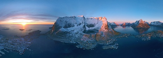 Reine, Lofoten archipelago, Norway - AirPano.com • 360 Degree Aerial Panorama • 3D Virtual Tours Around the World