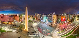 Panorama of the Obelisco de Buenos Aires at night