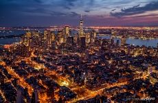 Manhattan at night from above