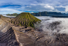 Batok volcano and view observation deck of the Bromo volcano