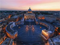 St. Peter's Basilica and Saint Peter's Square at dusk