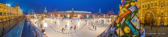 Rink at the Red Square. Panorama