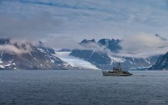 Boat, Glaciers and Mountains