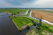 Above the Kinderdijk windmills