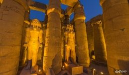 Peristyle at night. Luxor Temple